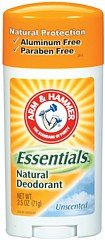 Arm & Hammer Essentials Natural Deodorant Solid, Unscented, 2.5 Ounce front-387139