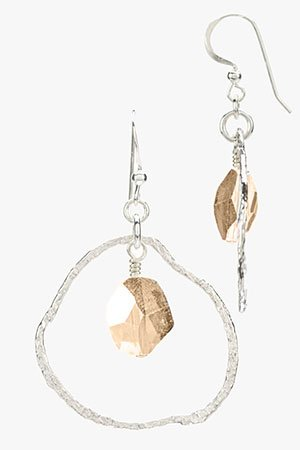 Contemporary Silver Circle Earrings with Swarovski Crystal Drop (Small) Gold