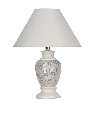 ORE International Marbled Ceramic Table Lamp, Ivory