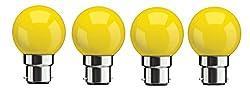 Syska SKC-0.5W-Y Base B22 0.5-Watt LED Glass Bulb (Pack of 4, Yellow)