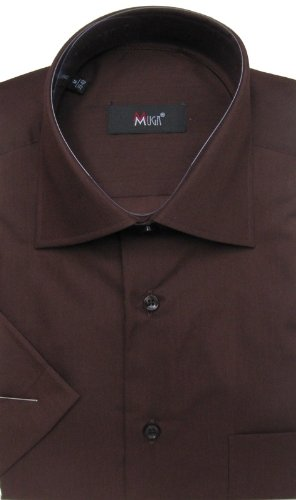 MUGA mens Shortsleeve shirts for Casual and Formal, Brown, Size 4XL