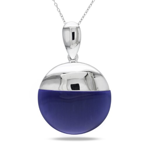 Sterling Silver 44ct TGW Synthetic Blue Cat Eye Pendant (18 inches)