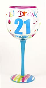 Hand Painted Milestone 21st Birthday Wine Glass, Holds 18 Oz - In A Gift Box