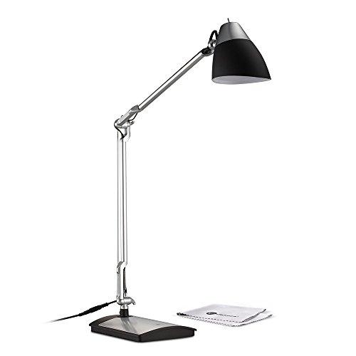 Lampada da Scrivania LED TaoTronics 6W, Braccio Flessibile, Testa Rotabile, Non affatica gli occhi, Colore Nero + Finitura in Argento