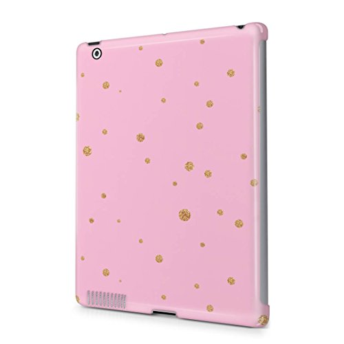 Pink Golden Splatter Polka Dots Apple iPad 2 / 3 / 4 Snap-On Hard Plastic Protective Shell Case Cover