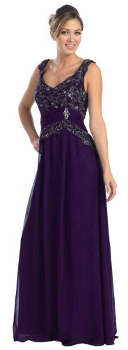 Mother of the Bride Formal Evening Dress #636 (Large, Purple)