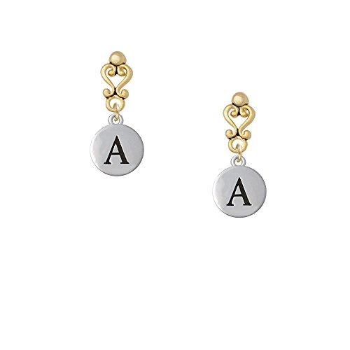 Capital Letter - A - Pebble Disc - Gold Tone Filigree Heart Earrings