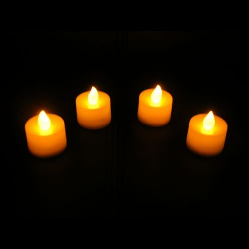 PK Green 4 AMBER LED Flickering Candles Tea Lights with LITHIUM Battery