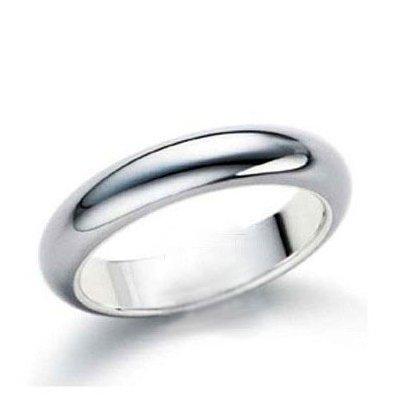 CET Domain SZ11-1055-7 Glossy Platinum Titanium Steel Men & Womans Couple Ring-Size 7