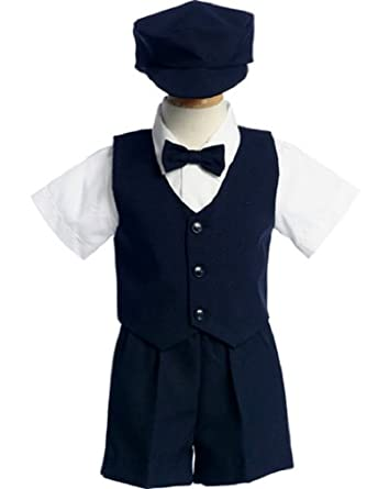 815-N-M- Navy Poly Silk Outfit- Vest/ Shorts/hat/tie/Shirt -Made in USA