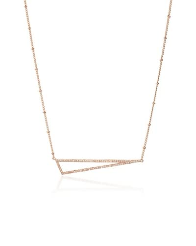 Melanie Auld Rose Micro Pavé Abstract Triangle Necklace
