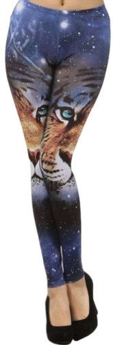 Psezy Women Tiger Face Printed Tights Galaxy Fashion Leggings front-1010768