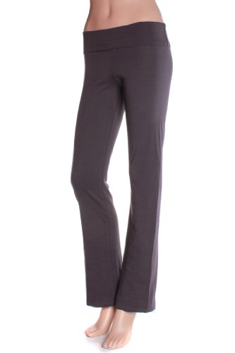 Hollywood Star Fashion Women'S Slimming Foldover Bootleg Flare Yoga Pants (2Xl, Charcoal)