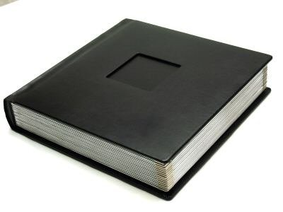 Professional 10x10 BLACK Silver Edged Wedding Photo Album with 40 Mats