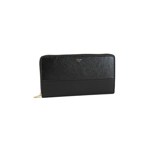 CELINE:セリーヌ  バイカラー ラウンドファスナー長財布 ゴートスキン×ラムレザー ブラック(BLACK)並行輸入