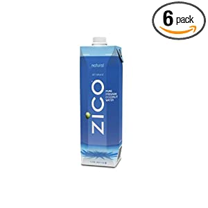 ZICO Pure Premium Coconut Water, Natural, 33.8-Ounce Container (Pack of 6) - Save: 21%