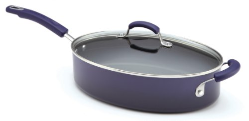 Rachael Ray Porcelain Enamel II Nonstick 5-Quart Covered Oval Saute, Purple Gradient (Rachel Ray Stove Top Grill compare prices)
