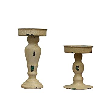 YK Decor Metal Antique Candle Holder Set