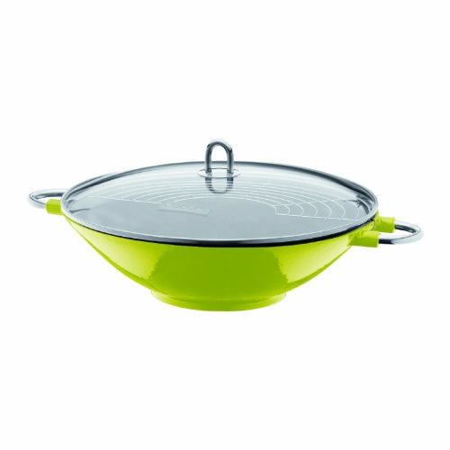 Bodum 14.5-inch/ 37 cm Chambord Enameled Cast Iron Wok with Glass Lid, Green