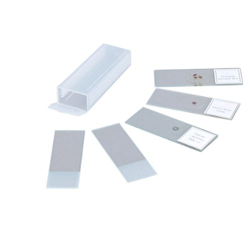 Omax 5 Prepared & Blank Microscope Glass Slides With Plastic Box