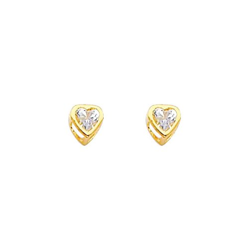 14K Yellow Gold 4mm Heart Bezel Set April CZ Birthstone Stud Earrings for Baby and Children (White Topaz)