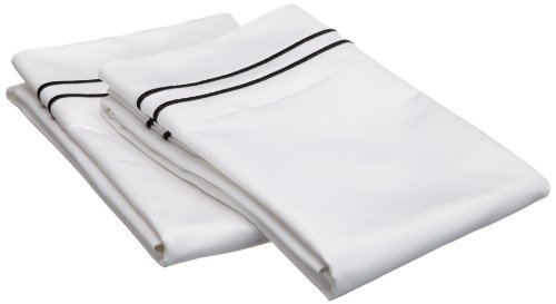 Egyptian Cotton 1600 Thread Count Oversized Standard Pillowcase Set Solid, White With Black Trim back-867191