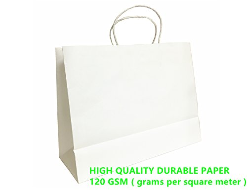 Mistmo 16X6X12 inch-10 Pc Premium Paper Bag (120GSM), Gift, Shopping, Merchandise, Grocery, Recycle Kraft Handle Bags, WHITE (Extra Large Merchandise Bags compare prices)