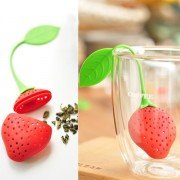 3PCS/Lot Silicone Strawberry Shape Loose Tea Leaf Strainer Herbal Spice Infuser Filter-Red