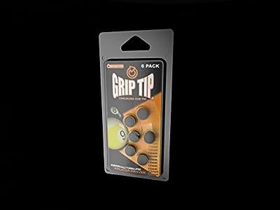 Grip Tip Chalkless Glue-on Pool Cue Tip,10-12mm (6 Pack)