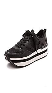 DKNY Women's Jessica Runway Platform Sneakers, Black, 8.5 B(M) US