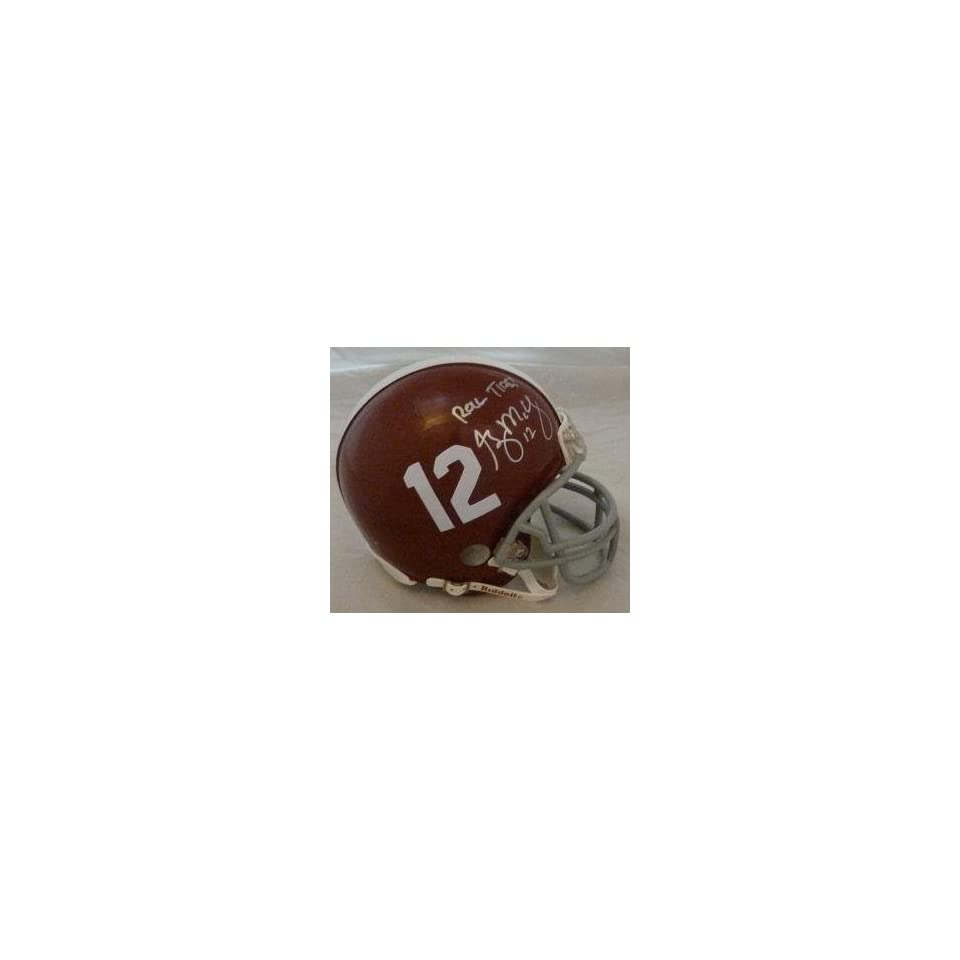 Greg McElroy Autographed Alabama Crimson Tide Mini Helmet w/Roll Tide   Autographed College Mini Helmets