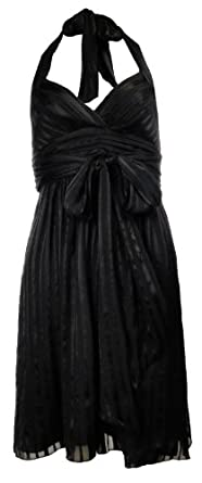 BCBGMAXAZRIA Petite Women's Silk Black Stripe Halter Dress (6P)