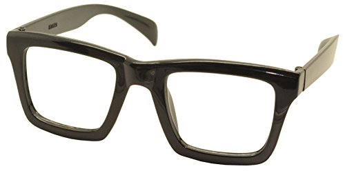 FancyG® Retro Vintage Classic Wayfarer Nerd Geek Square Glasses Frame NO LENS - Black