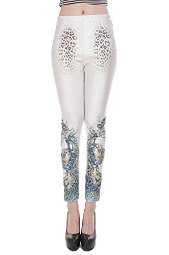 Pink Wind Girl'S Digital Printing Stretch Pants Slim Leopard Leggings Tights (One Size, White)