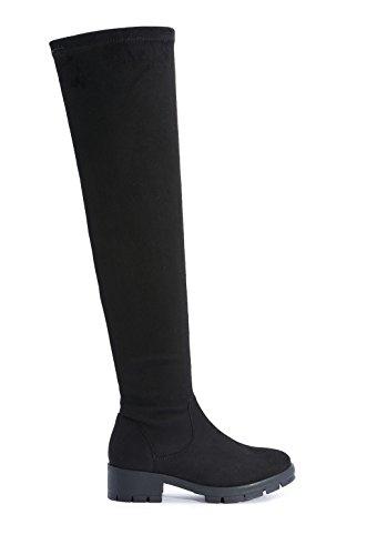 FFOMO Black Betty finto camoscio stivali sopra il ginocchio 7 Black