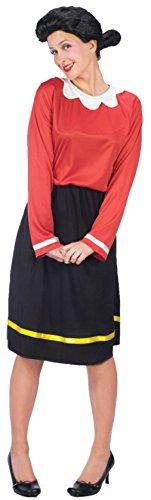 Olive Oyl Costume - Medium/Large - Dress Size 10-14 (Popeye & Olive Oyl Costumes)