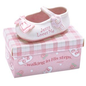"ADORABLE 3.5"" Ceramic JESUS LOVES ME - BABY Shoe with PINK Box - INFANT Gift with Scripture ""WALKING IN HIS STEPS"" BABY SHOWER/Keepsake/IT'S A GIRL/NEWBORN Nursery Decor"