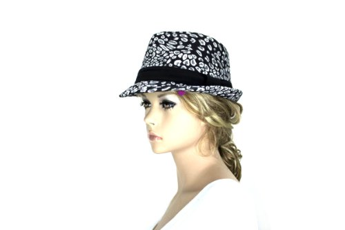 Noonies Boutique Black/White Seedy Fedora 10'' w/ 1'' Brim