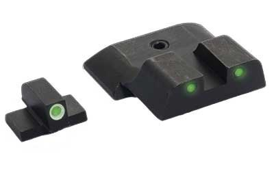 AmeriGlo S&W M&P Bowie Tactical Front & Rear Sights, Green/White, 3 Dot
