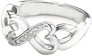 Designer Inspired Double Loving Heart Ring w/CZ Size 10 (Sizes 5-10 Available)