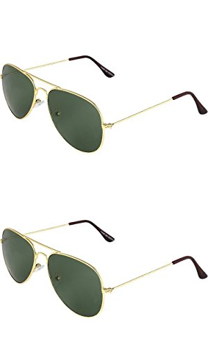 SHEOMY COMBO OF GOLDEN GREEN AVIATOR AND GOLDEN GREEN AVIATOR SUNGLASSES WITH 2 BOX (SUN-054)