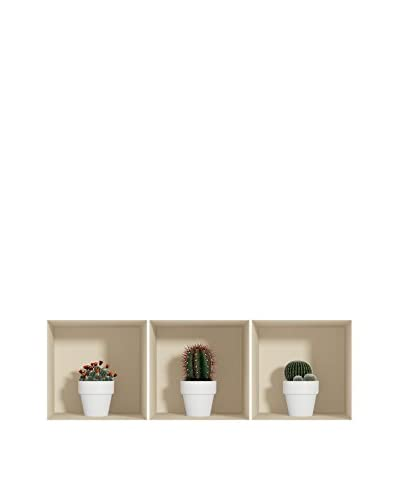 Ambiance-sticker Set Vinile Decorativo 3 Pz. 3D Effect Cactus