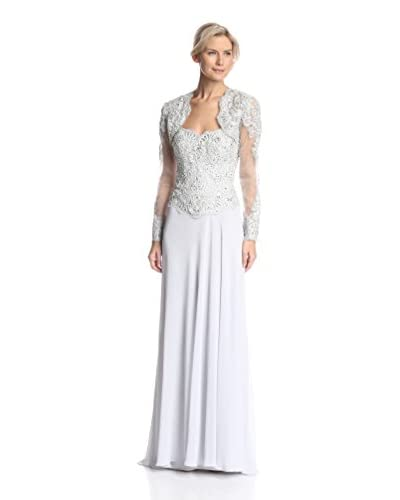 Terani Couture Women's Lace Bodice Strapless Dress with Removable Shrug