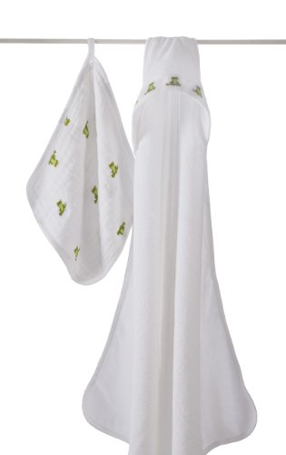 Imagen de aden + anais 100% algodón muselina Toalla con capucha y Juego de Toalla, MOD sobre la rana del bebé