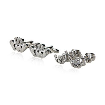 Irish Claddagh Silver Cufflinks &amp; Studs
