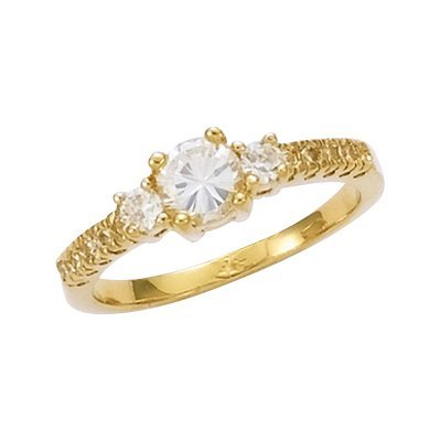 18K Gold Plated Clear Cubic Zirconia Solitaire Band Engagement Ring - Size 10