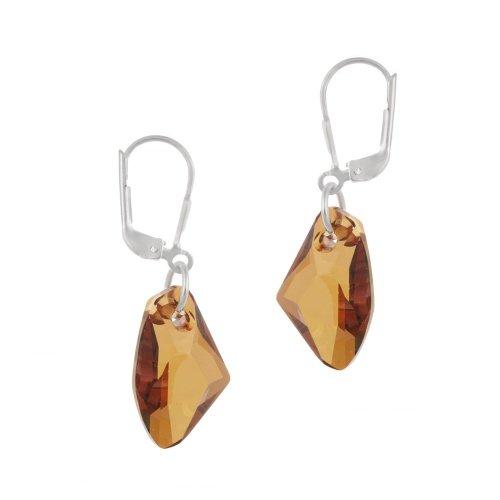 Sterling Argento Rame Swarovski orecchini pendenti cristallo di rocca