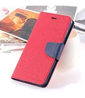 LG K10 Flip Cover Mercury Dairy & Wallet Case (Red & Blue)