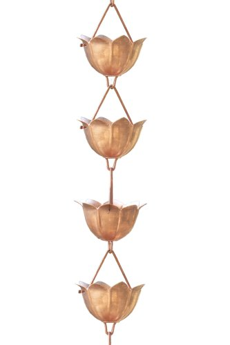 Monarchs Pure Copper Lotus Rain Chain 8-1/2 Feet Length (Pure Rain compare prices)
