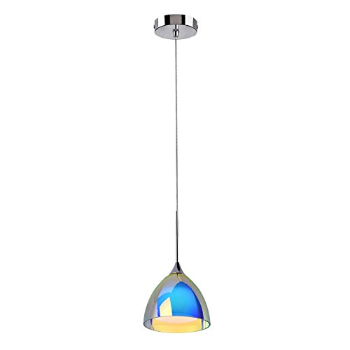OBSESS 5W LED One-Light Adjustable Mini Pendant Light with Handblown Color Plating Glass Shade and Aluminium Trim,Polished Chrome(Kitchen/Bar Pendant Light,Dimmable,4-Inch Ceiling Canopy) (Commercial Pendant Light Fixtures compare prices)